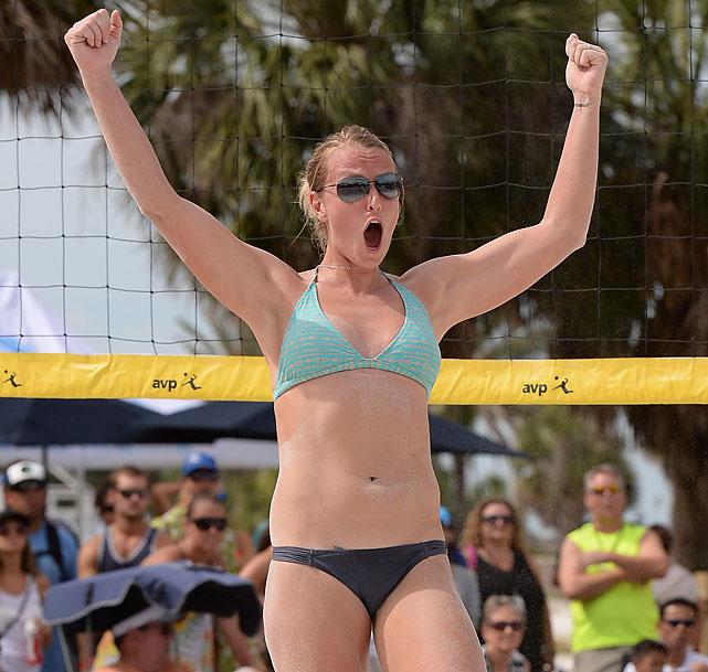Kathryn Piening celebrates a win.