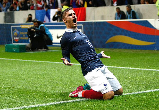 France's Antoine Griezmann found the net against Paraguay for his first-career international goal.