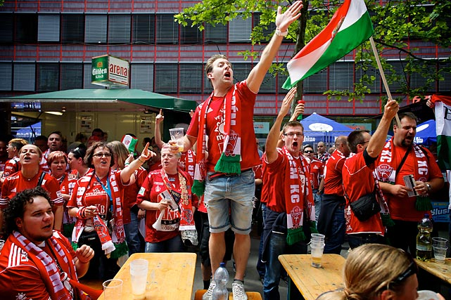 MKB MVM Veszprem (Hungary) fans get ready for the EHF Champions League semifinal outside of Lanxess Arena on May 31.