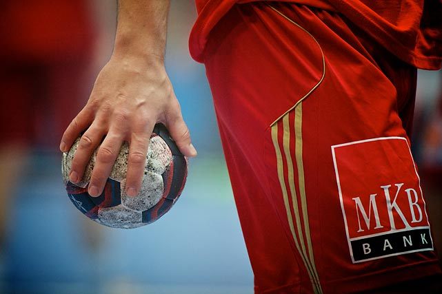 Hand with Ball from player of MKB-MVM Veszprem (Hungary).