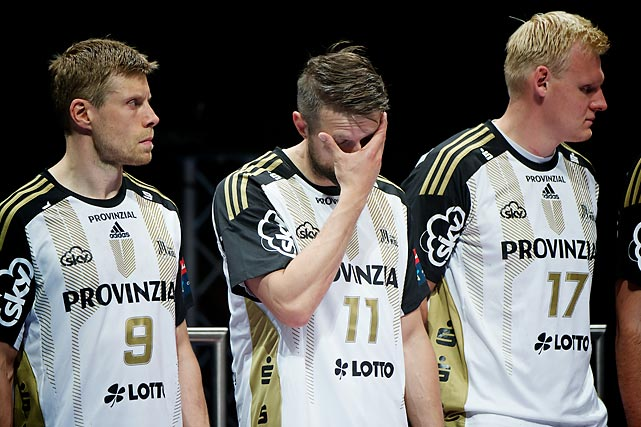 Gudjon Valur Sigurdsson (9), Christian Sprenger (11) and Patrick Wiencek (17) don't look happy after losing in the Champions League Final.