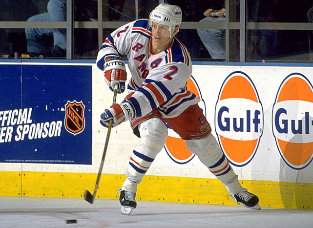 One of the finest American players, and blueliners, of all time, Leetch recorded more assists (741) than any Ranger in history and ranked second in points (981) and power-play goals (106). He served as captain from 1997 to 2000 and often saved his best performances for playoff time. During New York's epic run to the Stanley Cup in 1994, Leetch led the NHL with 34 postseason points, earning the Conn Smythe Trophy as playoff MVP, and scored the first goal in the Rangers' 3-2 win against Vancouver in Game 7 of the Cup final. The two-time Norris Trophy winner entered the Hall of Fame in 2009, a year after the Rangers retired his No. 2.