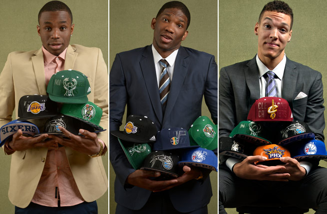 Who will call the names of (from left) Andrew Wiggins, Joel Embiid and Aaron Gordon at the draft?