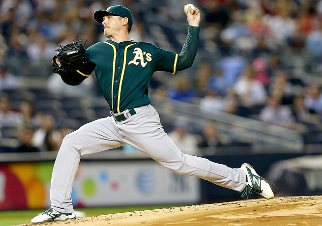 Scott Kazmir struck out ten batters in just 6 1/3 innings against the Yankees on Tuesday night.