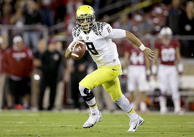 Can dynamic quarterback Marcus Mariota (8) and Oregon make a run at a College Football Playoff berth?
