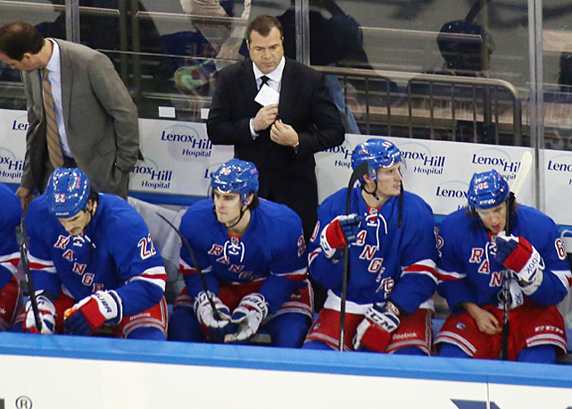 "As the Rangers struggled to adapt to their new coach, who later admitted that he needed time to figure out his players, the team's offense sputtered to 27th in the 30-team NHL. Vigneault fumed after Washington's rookie goalie Philip Grubauer stifled his Rangers, 4-1, at MSG on Dec. 8, handing them their third loss in their last five games. The Blueshirts then held a players-only meeting, one of several they convened in the early going, to seek an answer to their woes. ""It's not going to come from anyone else except from the 22 guys in here,"" center Derek Stepan said. ""We have to find a way to grab it."""