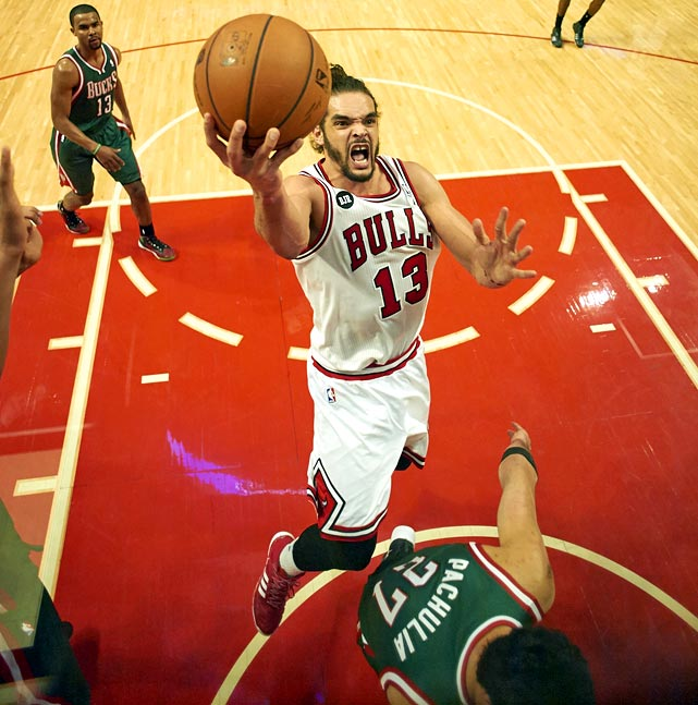 <bold>1st Team Votes: 101 | Points: 551</bold> <bold>12.6 points | 11.3 rebounds | 1.5 blocks | 1.2 steals</bold> Noah, ranked sixth in the NBA in rebounding and 12th in blocks. He was one of just three players (Detroit's Andre Drummond and New Orleans' Anthony Davis) to average at least 10.0 rebounds, 1.5 blocks and 1.2 steals. Behind Noah, the Bulls held opponents to a 43.0 field goal percentage, second stingiest in the league.