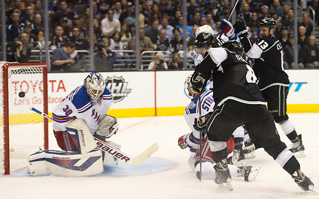 Henrik Lundqvist makes one of his 40 saves.