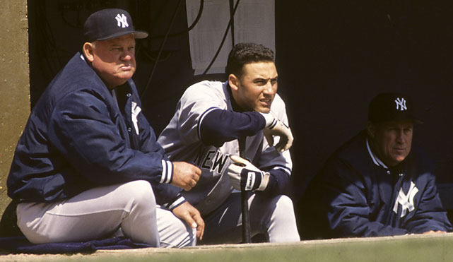 After stops managing the Rangers and Cubs (with whom he won manager of the year in 1989) and on the staffs of the Yankees, Giants, Red Sox and Rockies, Zimmer settled in as bench coach for the Yanks under Joe Torre. Derek Jeter, seen here, would frequently rub Zimmer's head and belly before at-bats for good luck.