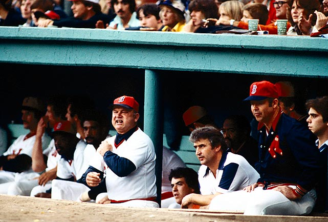 Red Sox manager Zimmer looks on during a game against the Yankees. He'd coach the Sox to a 99-win season that year, but a collapse down the stretch saw the team bounced by the Yanks and Bucky Dent's famous home run in a one-game playoff.