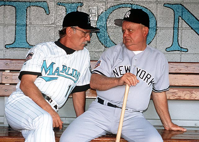 Zimmer catches an earful from Florida Marlins manager Jim Leyland during a 1997 interleague game. Zimmer sat on the bench for New York's World Series runs in 1996, 1998, 1999 and 2000.