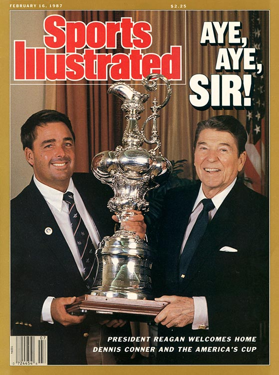 President Reagan poses with Stars & Stripes skipper Dennis Conner, winner of the America's Cup yacht race, for the cover of Sports Illustrated.