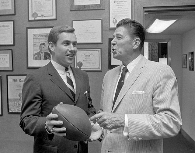 California Governor Ronald Reagan and his special assistant, Buffalo Bills quarterback Jack Kemp, discuss football in his office in Sacramento, Calif. Kemp would later serve as a congressman for Western New York's 31st district from 1971-89, Housing Secretary under President George H.W. Bush (1989-93) and Republican Vice President nominee in the 1996 election.