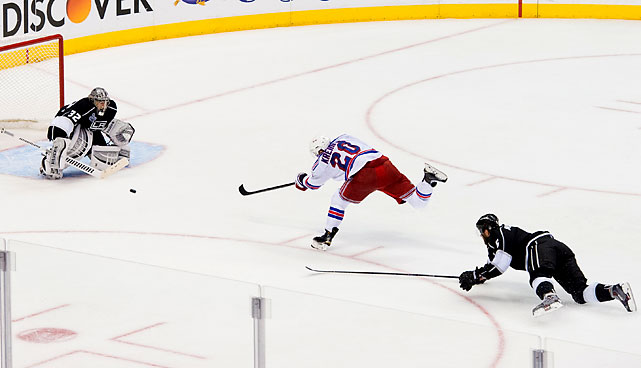 Chris Kreider takes a shot that didn't find the net.