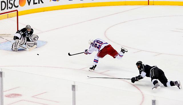 Chris Kreider takes a shot that didn't find the net.