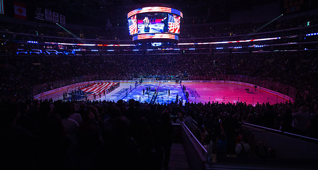 A view of the ice before the start of the game at Staple Center.