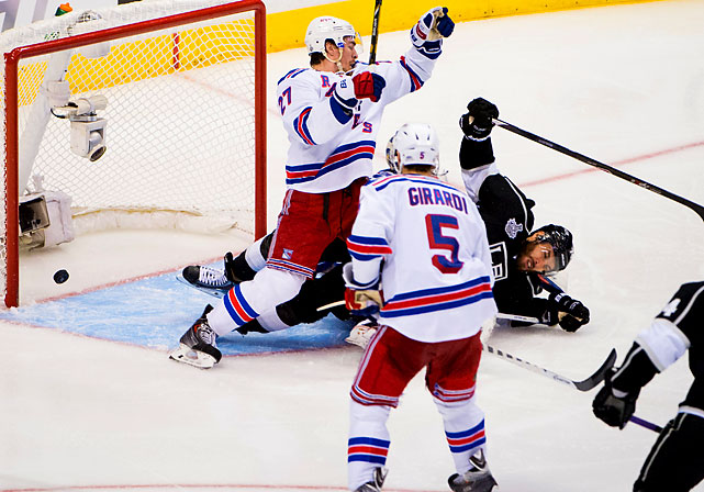 The Rangers couldn't believe an interference penalty wasn't called after Matt Greene's slap shot hit King and went in while the bruising forward fell on top of goaltender Henrik Lundqvist.