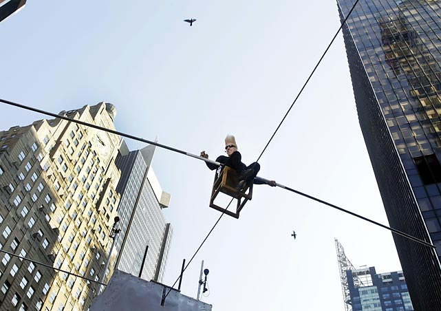 You can't knock Nock, who's there trying to set a world record for The Longest Continuous Interview on a Wire while sitting 27 feet above New York's Times Square. His eight-hour stunt kicked off the<italics> ìSummer of Belloî</italics> will end -- not badly, one hopes - on Aug. 30 when the seventh-generation circus performer attempts to perform 15 death defying stunts in Las Vegas.