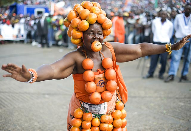 Obviously a major Syracuse fan, this supporter of Kenyan opposition leader Raila Odinga held certain a peel, though she was suspected of juicing at the big Coalition for Reforms and Democracy rally in Nairobi.