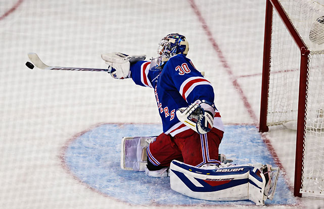 Henrik Lundqvist was hardly at fault on the three L.A. goals; he finished with 12 saves.