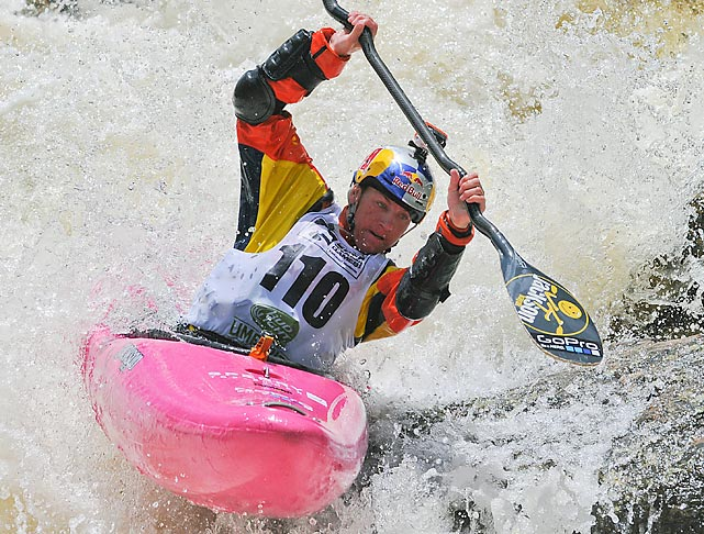 World champion Dane Jackson competes in Steep Creek whitewater kayak at the GoPro Mountain Games in Vail, Colo.