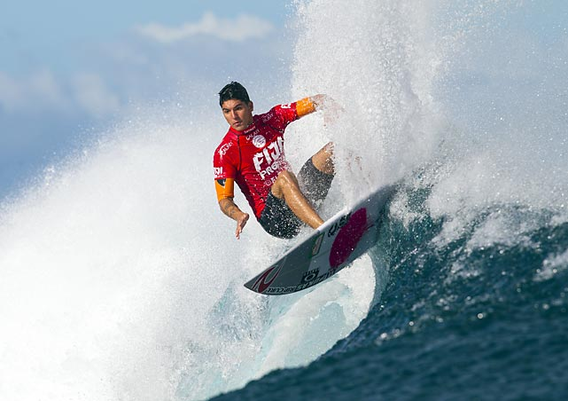 Brazil's Gabriel Medina catches a wave during the semifinals of the Fiji Pro in Tavarua, Fiji.