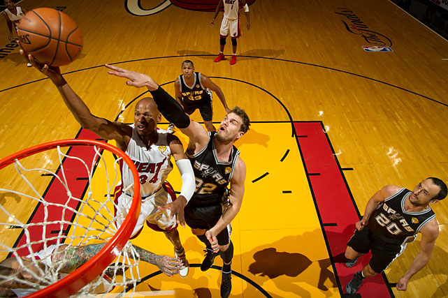 Ray Allen had 11 points for the Heat, who trailed by as many as 25 and only briefly challenged San Antonio during its second lopsided victory in the series.
