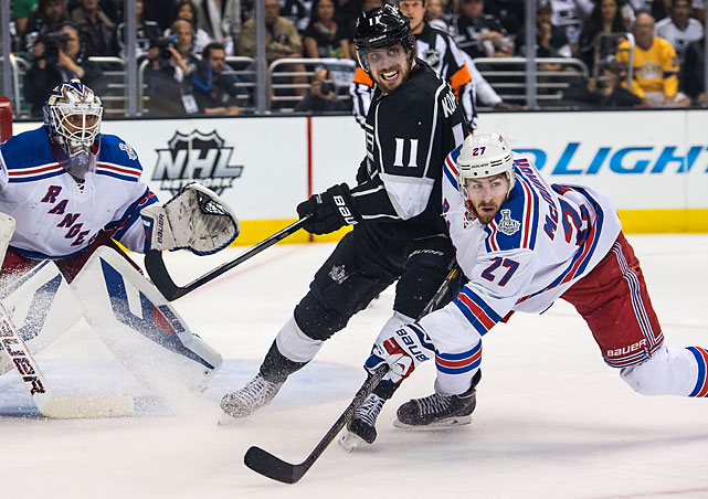 Chris Kreider of the Rangers and Anze Kopitar of the Kings attempt to locate the puck.