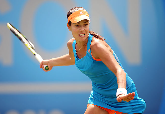 Ana Ivanovic (above) will face Barbora Zahlavova Strycova in Sunday's Aegon Classic final.