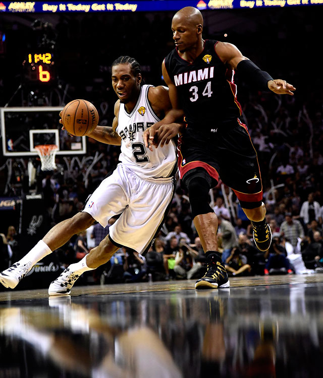 A 22-year-old small forward, Kawhi Leonard was quiet in Games 1 and 2, but he took over the rest of the way, keying three straight Spurs victories to clinch the Finals series in five games.