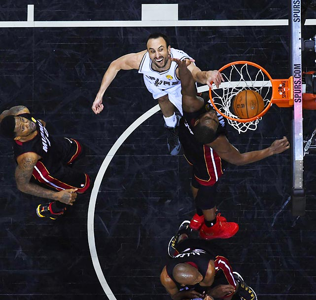 Manu Ginobili threw down an impressive dunk on his way to scoring 19 points and winning his fourth NBA title.