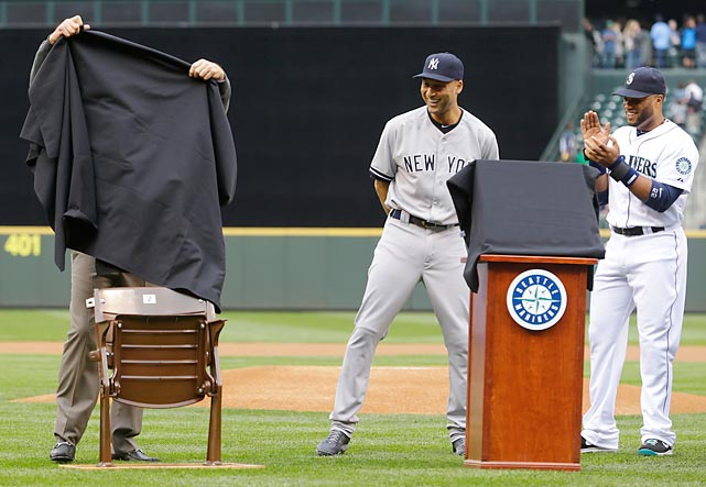 The Yankees icon got the chair in Seattle as the Mariners saluted his execution during a solemn pregame ceremony. That's former Yank Robinson Cano hailing the proceedings. The chair in question was from the Kingdome, where Jeter got his first major league hit way back in 1995.