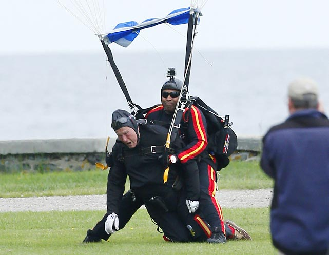 In other religious news, turning 90 was a real bring-down for the ex-POTUS (left), who landed with Sgt. 1st Class Mike Elliott (retired) of the Army's Golden Knights parachute team on the lawn at St. Anne's Epicopal Church near the Bush family compound in Kennebunkport, Maine.