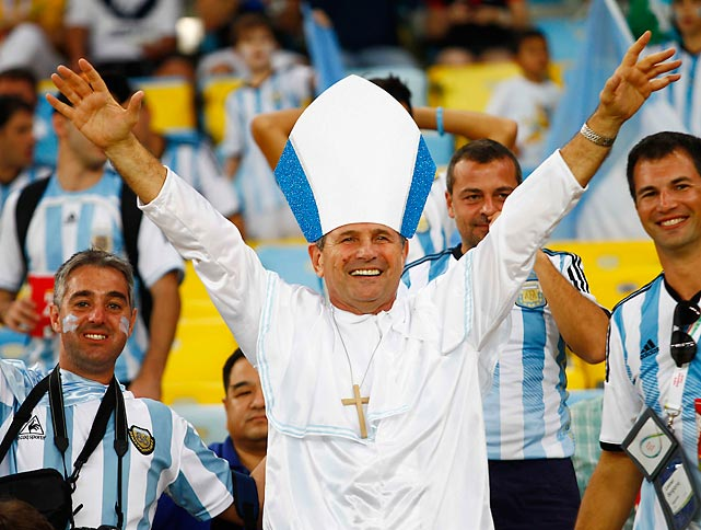 Feeling righteous at Maracana Stadium in Rio de Janeiro.