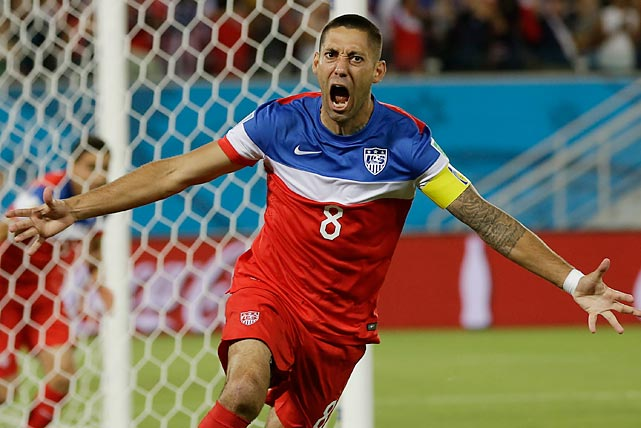 Clint Dempsey celebrates after scoring the opening goal in the first minute of play against Ghana in Natal, Brazil, Monday, June 16. The United States won its World Cup opener 2-1 on a late header by John Brooks and faces Portugal on Sunday.