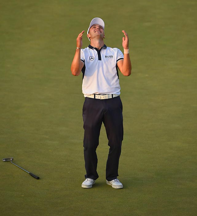 Kaymer celebrates his win after sinking his final putt on the U.S. Open's 18th hole at the Pinehurst Resort and Country Club.