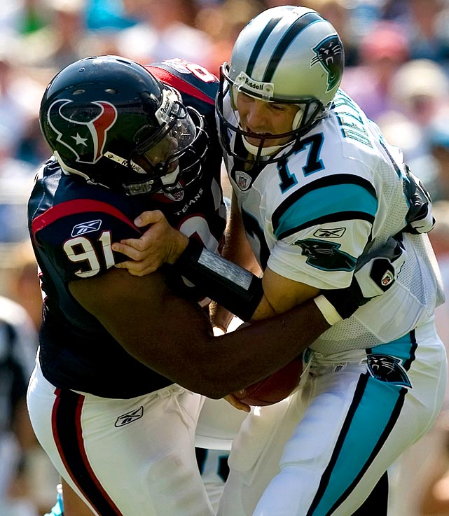 Age: 19 years, 3 months, 6 days                                            Okoye, a first-round selection of the Houston Texans, appeared in his first game as a rookie and became the youngest player to take an NFL field in the Super Bowl Era. Though he never lived up to his promise as the 10th overall selection, Okoye was named defensive rookie of the month in September 2007.