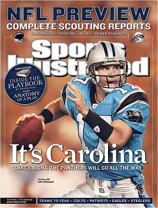 In Carolina's first game after Delhomme appeared on the cover, the Panthers lost 23-20 to the New Orleans Saints. And though the Panthers made the playoffs, they didn't even play in the Super Bowl.