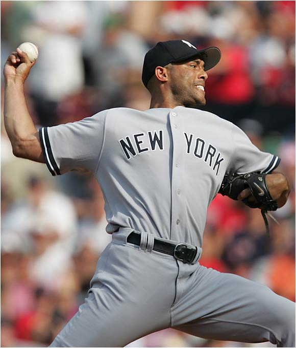 "When Metallica's ""Enter Sandman"" begins to play in the bottom of the ninth, 56,000 Yankee fans rise to their feet because they know Rivera is coming in to end the game. In '05 he had 43 saves and more then a strikeout an inning and remains one of the best closers the game has ever seen."
