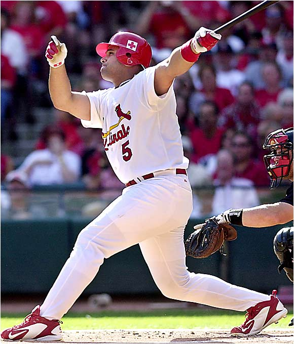 As the reigning NL MVP, Pujols is one of the best hitters in baseball. As the anchor of the powerful Cards' lineup last season, he terrorized opposing pitchers with 41 homers, 117 RBIs, 129 runs scored, and hit .330.