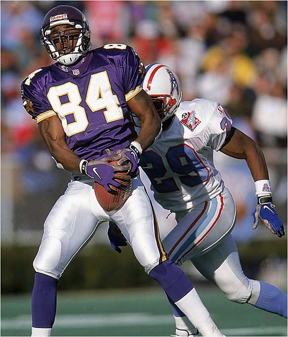 Teams passed on Moss in the draft because of his off-field problems, and the talented wide receiver made them pay by lighting up the NFL his rookie season. Moss caught 69 passes for 1,313 yards and 17 touchdowns to help the Vikings go 15-1.