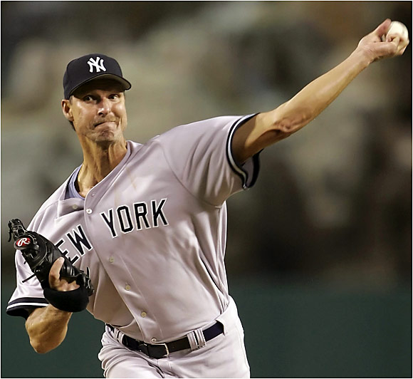 Randy Johnson took the loss against the Angels on Saturday despite striking out eight batters in eight solid innings.