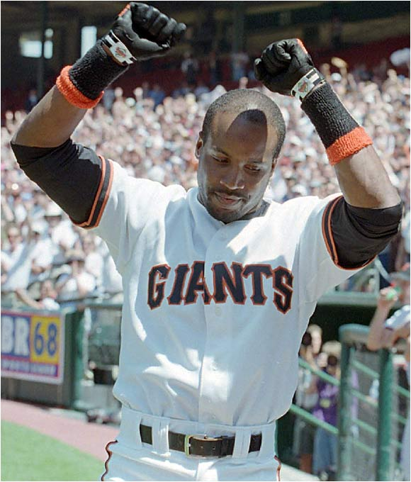 Bonds became the fourth member of the 300 home run/300 stolen base club when he went deep off Florida's John Burkett at Candlestick Park.