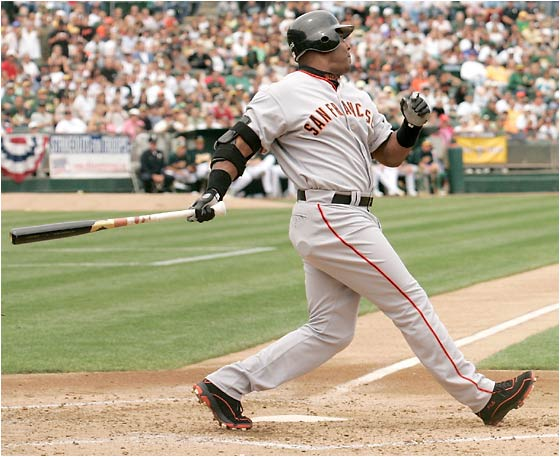 Before he smashed No. 714 in the second inning, Barry Bonds had gone 29 at-bats since his last home run. The Athletics' Brad Halsey became the 420th pitcher to give up a homer to Bonds.