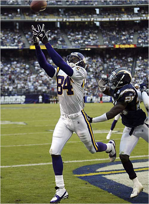 The explosive wide receiver likely would have been picked higher if it weren't for off-field issues, and he entered the NFL on a mission to burn the teams that passed on him. Moss caught 17 touchdowns his rookie season and helped the Vikings develop one of the most potent offenses in NFL history over the next several years.