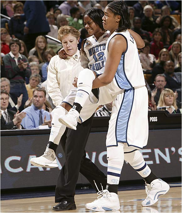 North Carolina's Ivory Latta smacked her left knee on the court 7 1/2 minutes into the game and wasn't the same when she returned to the game less than two minutes later.