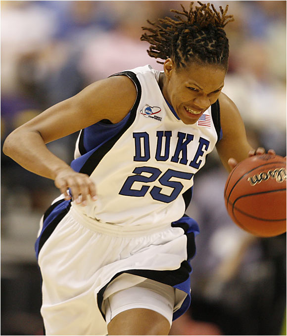 Fifth-year senior Monique Currie, Duke's leading scorer at 16.3 points a game, chipped in 13 points to help defeat LSU.
