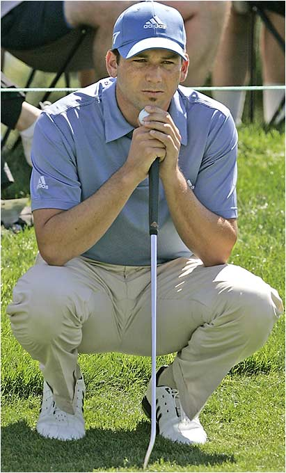 Hmmm, wonder what's on Sergio Garcia's mind as he waits to putt at the Byron Nelson Championship? Maybe he's trying to figure out how he missed the cut for the second time this year.