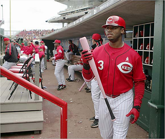 Ken Griffey Jr. brandished his new pink bat commemorating Mother's Day as part of a weeklong program to raise money for the Susan G. Komen Breast Cancer Foundation. The Reds' center fielder, however, went hitless in five at-bats against the Phillies.
