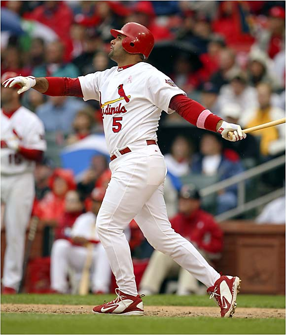 Albert Pujols drilled a Claudio Vargas offering 404 feet over the left-field wall for his 19th home run of the season Saturday at Busch Stadium. Pujols hit his 19th homer faster than any other player in major league history, beating both Mickey Mantle (1956) and Luis Gonzalez (2001) by three games.